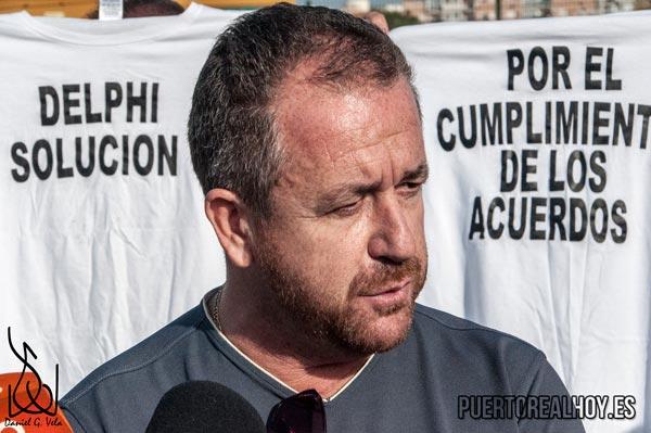 Antonio Montoro en una manifestación con los ex Delphi.