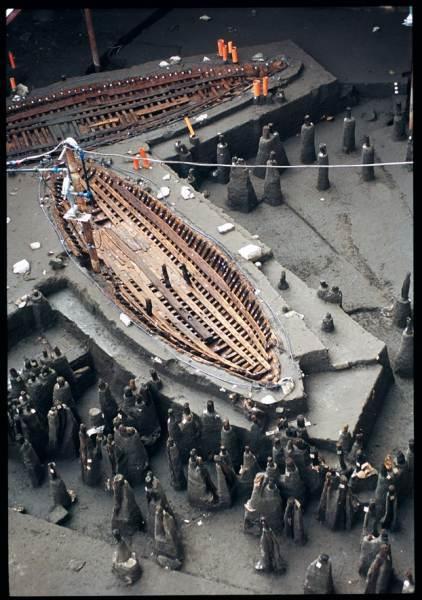Barco fluvial romano de Arles (Pecio Arles III). Siglo I d.C. Museo Arqueológico Departamental de Arles (Francia)