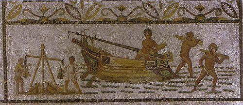 Mosaico Romano con pequeña barca