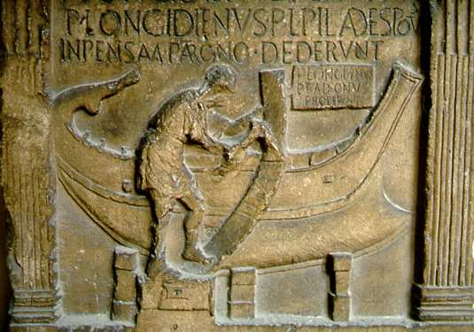 Carpintería de Ribera Romana. Estela de Logedieno. Ravenna.