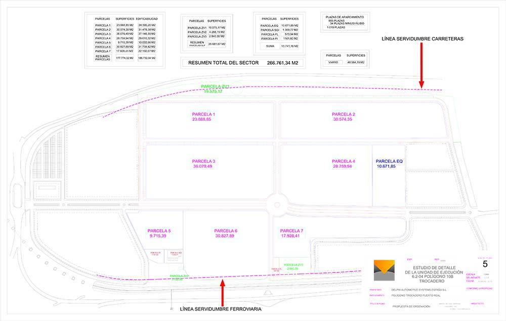 Reordenación de los terrenos de Delphi propuesta por el Ayto. de Puerto Real. / Fuente: Ayto. de Puerto Real