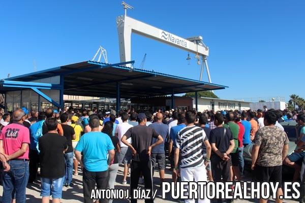 Concentración a las puertas de Navantia en Puerto Real.