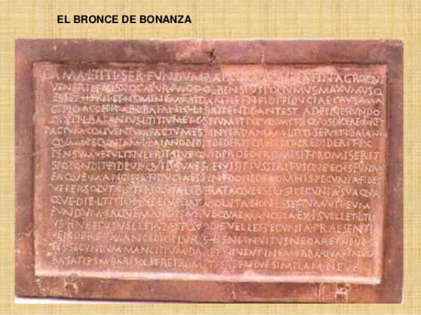Bronce de Bonanza, documento conservado en el Museo Arqueológico de Madrid.