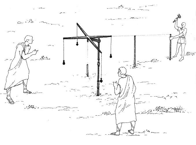 """""""Groma"""", instrumento de medición de los agrimensores romanos."""