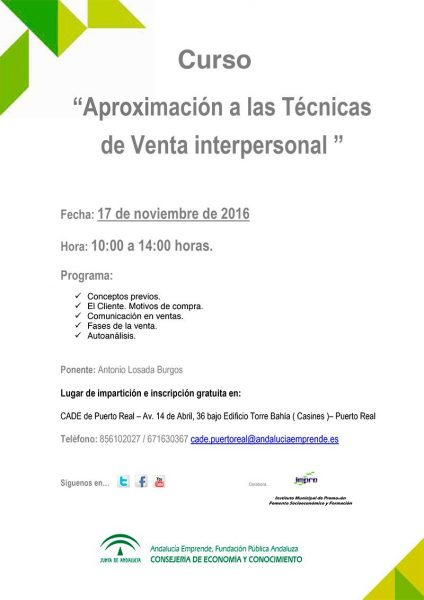 20161109_cartel_curso_cade_aproximacion_tecnicas_venta_interpersonal