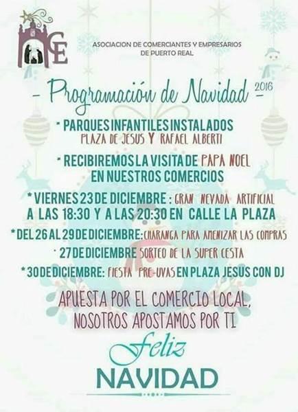 Calendario de Eventos de la Asociación de Comerciantes y Empresarios de Puerto Real.