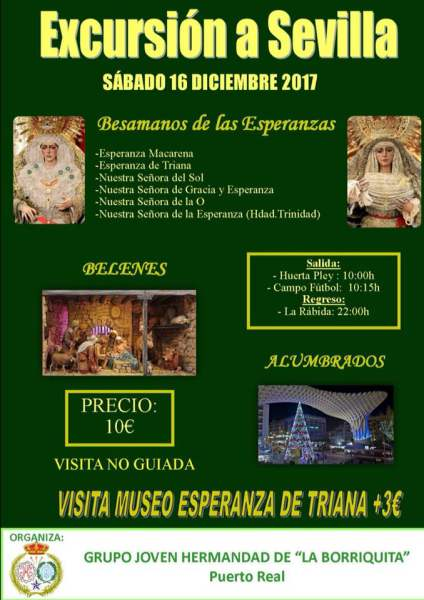 Cartel completo de Excursión a Sevilla de la Hermandad de La Borriquita