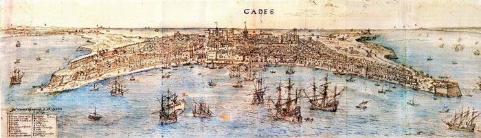 Cádiz, por Wyngaerde