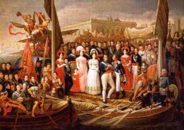 Fernando VII recibe al Duque de Angulema.