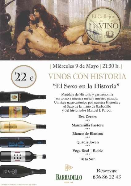 """Cartel de """"Vinos con Historia""""."""