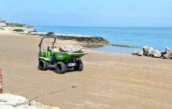 Obras en las playas del Río San Pedro.