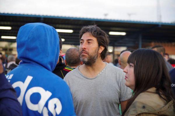 Jesús Rodríguez, en la concentración frente a las puertas de Navantia.
