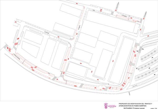 Propuesta de modificación del tráfico y aparcamientos en Paseo Marítimo
