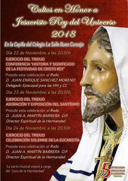 Programa de Cultos de la Hermandad de La Borriquita.